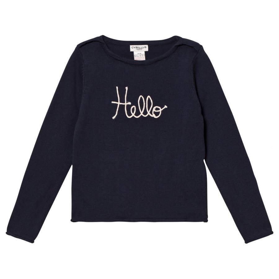 Cyrillus Type Embroidered Sweater Navy Paita