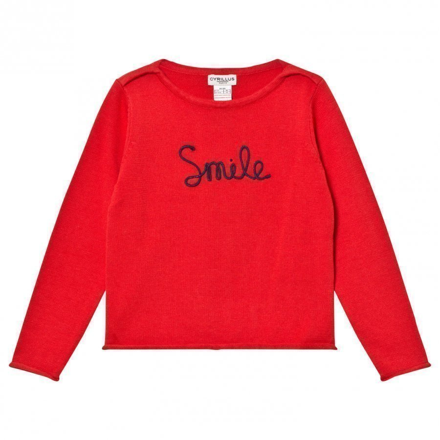 Cyrillus Type Embroidered Sweater Red Paita
