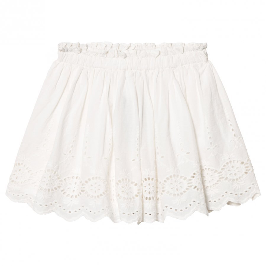 Cyrillus White Broderie Anglaise Skirt Lyhyt Hame