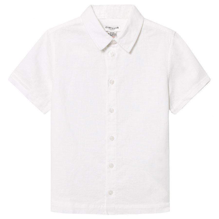 Cyrillus White Linen Short Sleeve Shirt Kauluspaita