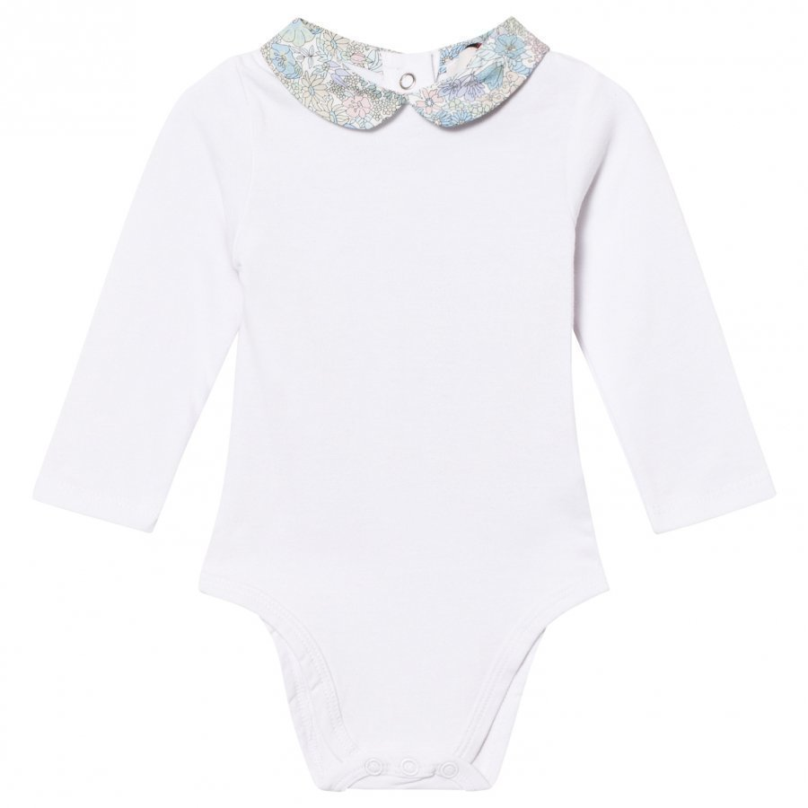 Cyrillus White Long Sleeve Baby Body With Liberty Collar Body