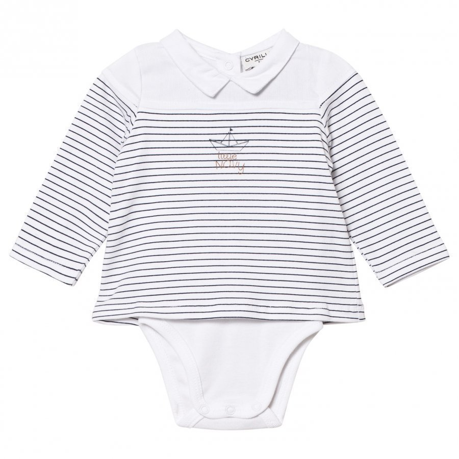 Cyrillus White/Blue Sailor Long Sleeve Baby Body