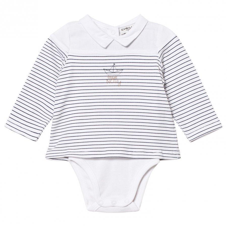 Cyrillus White/Blue Sailor Long Sleeve Baby Body