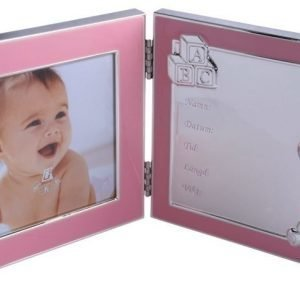 Dacapo Kaksiosainen valokuvakehys Tila syntymätiedoille Vaaleanpunainen