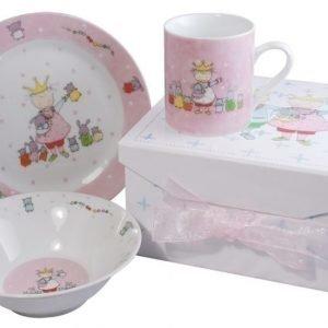 Dacapo Lasten ruokailusetti Prinsessa Valkoinen/Vaaleanpunainen