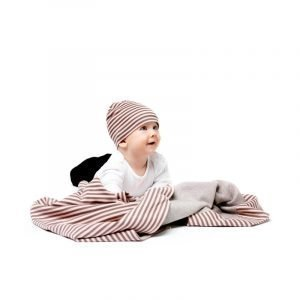 Design House Stockholm Cotton Stripe Peite Ja Myssy Roosa / Khaki