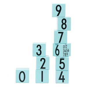 Design Letters Aj 0-9 Puupalikat Turkoosi