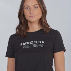 Designers Remix Girls Lr Stanley Text Tee T-Paita Sininen