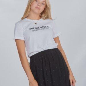 Designers Remix Girls Lr Stanley Text Tee T-Paita Valkoinen