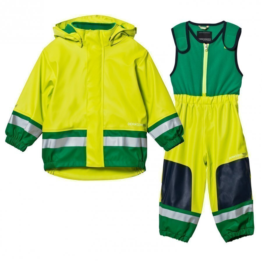 Didriksons Boardman Kids Rain Set Maize Green Sadesetti