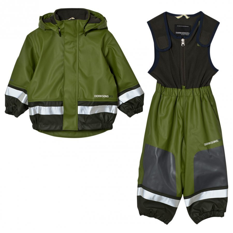 Didriksons Boardman Kids Rain Set Turtle Green Sadesetti