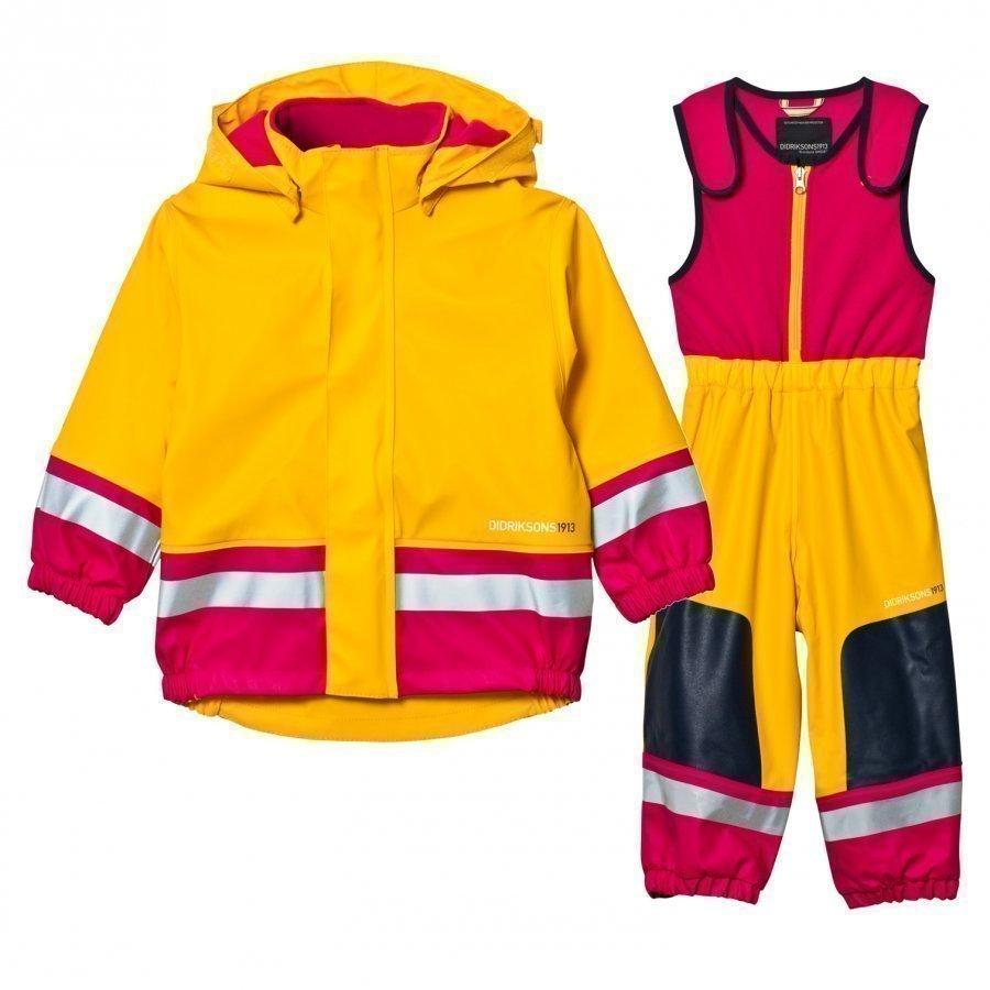 Didriksons Boardman Kids Rain Set Yellow/Fuchsia Sadesetti