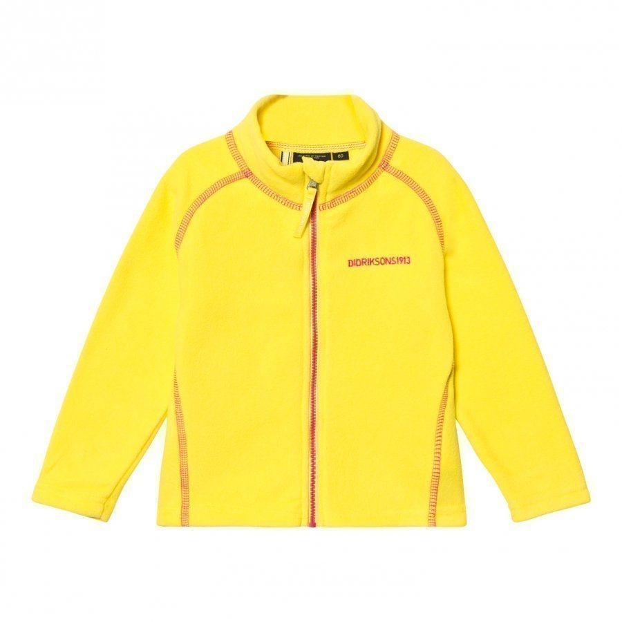 Didriksons Monte Kids Fleece Jacket Gorse Yellow Fleece Takki