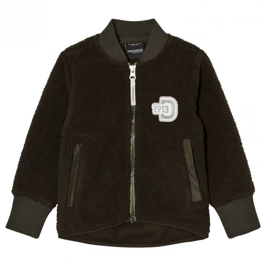 Didriksons Orsa Kid's Pile Jacket Stone Green Fleece Takki