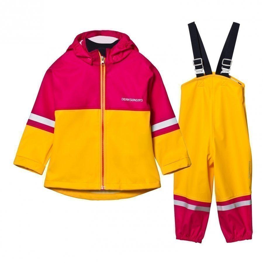 Didriksons Waterman Kids Rain Set Yellow/Fuchsia Sadesetti