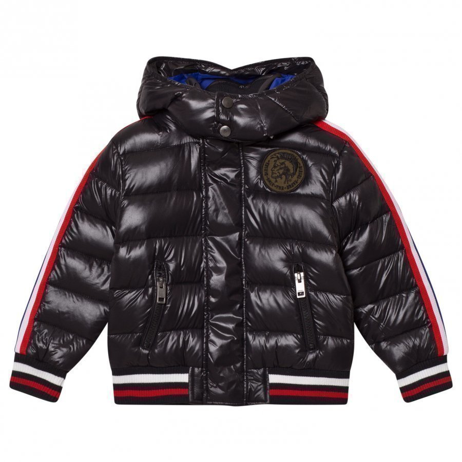 Diesel Black Hooded Puffer Jacket Toppatakki