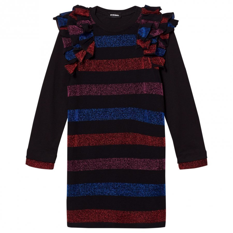 Diesel Black/Multi Colour Stripe Long Sleeve Dress Mekko
