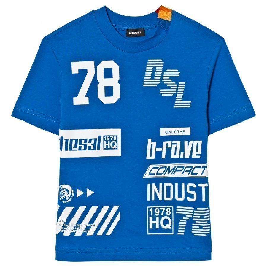 Diesel Blue All Over Logo Tee T-Paita