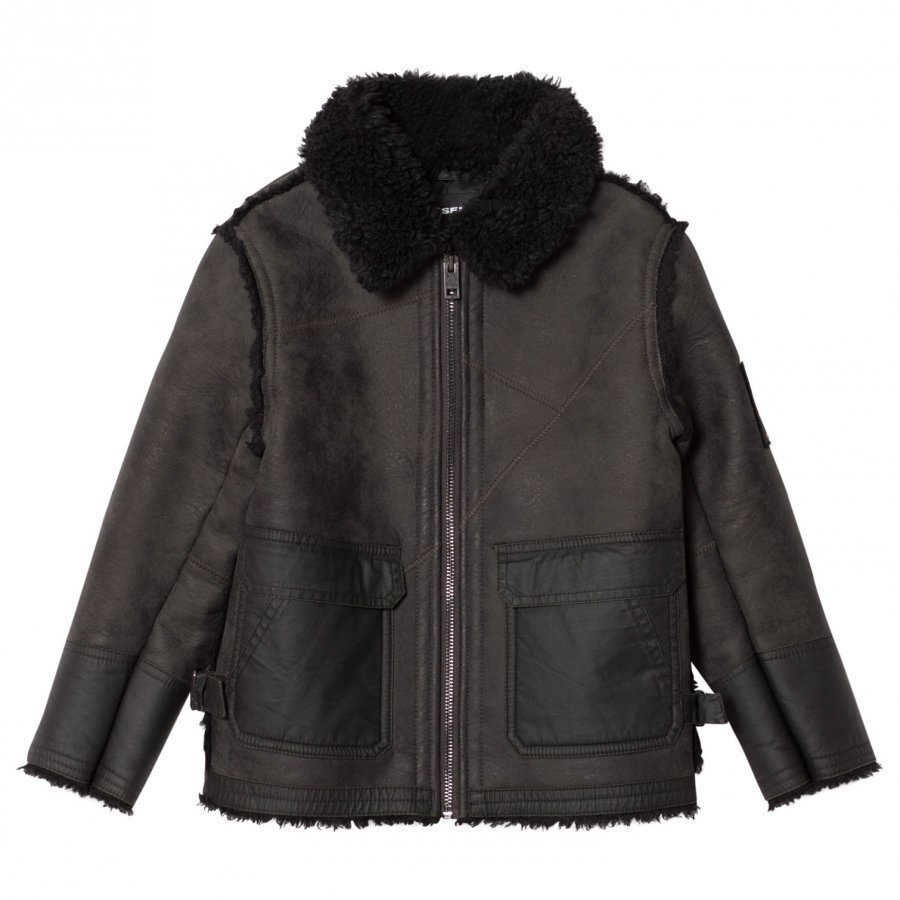 Diesel Dark Grey Sheepskin Jacket Turkis