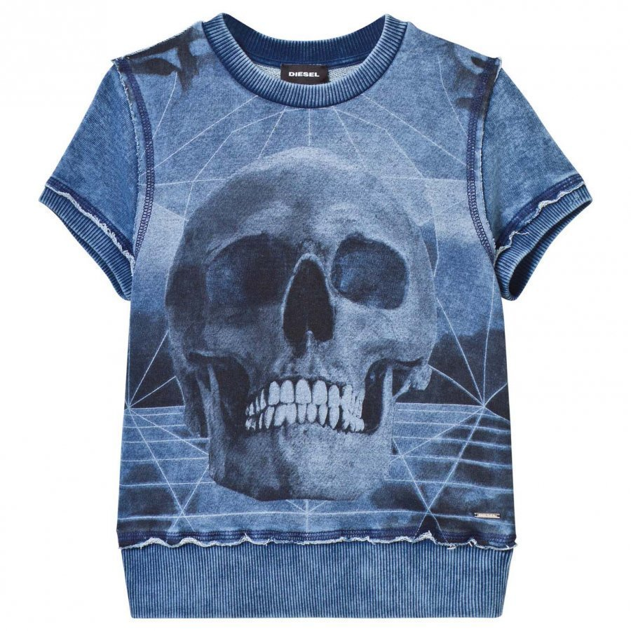 Diesel Denim Wash Skull Print Sweat Top T-Paita