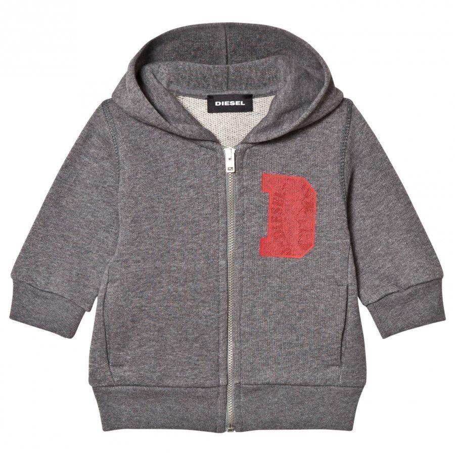 Diesel Grey D Logo Print Baby Zip Hoodie Verryttelyasu