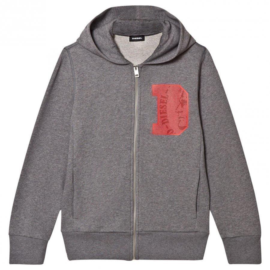Diesel Grey D Logo Print Zip Hoodie Huppari