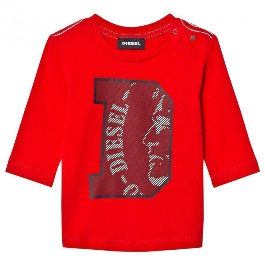 Diesel Long Sleeve D Logo Tee Red Pitkähihainen T-Paita