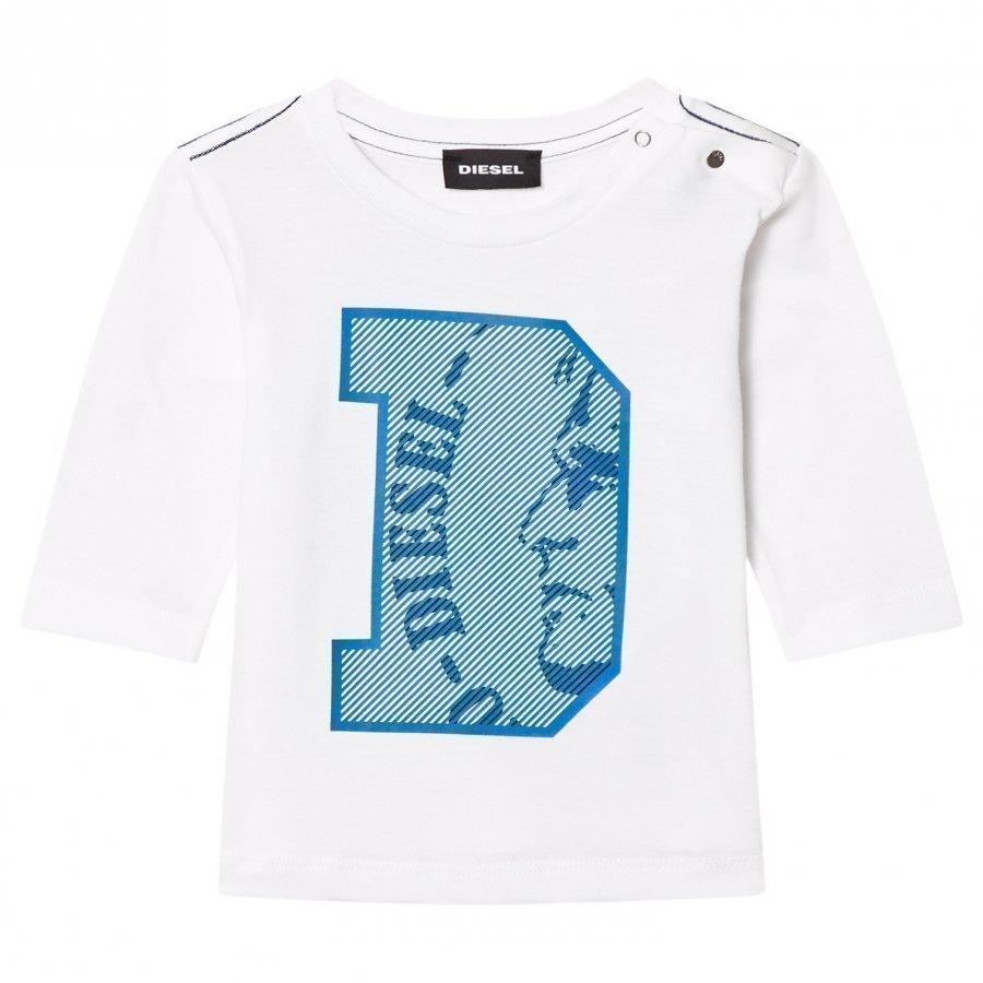 Diesel Long Sleeve D Logo Tee White/Blue Pitkähihainen T-Paita