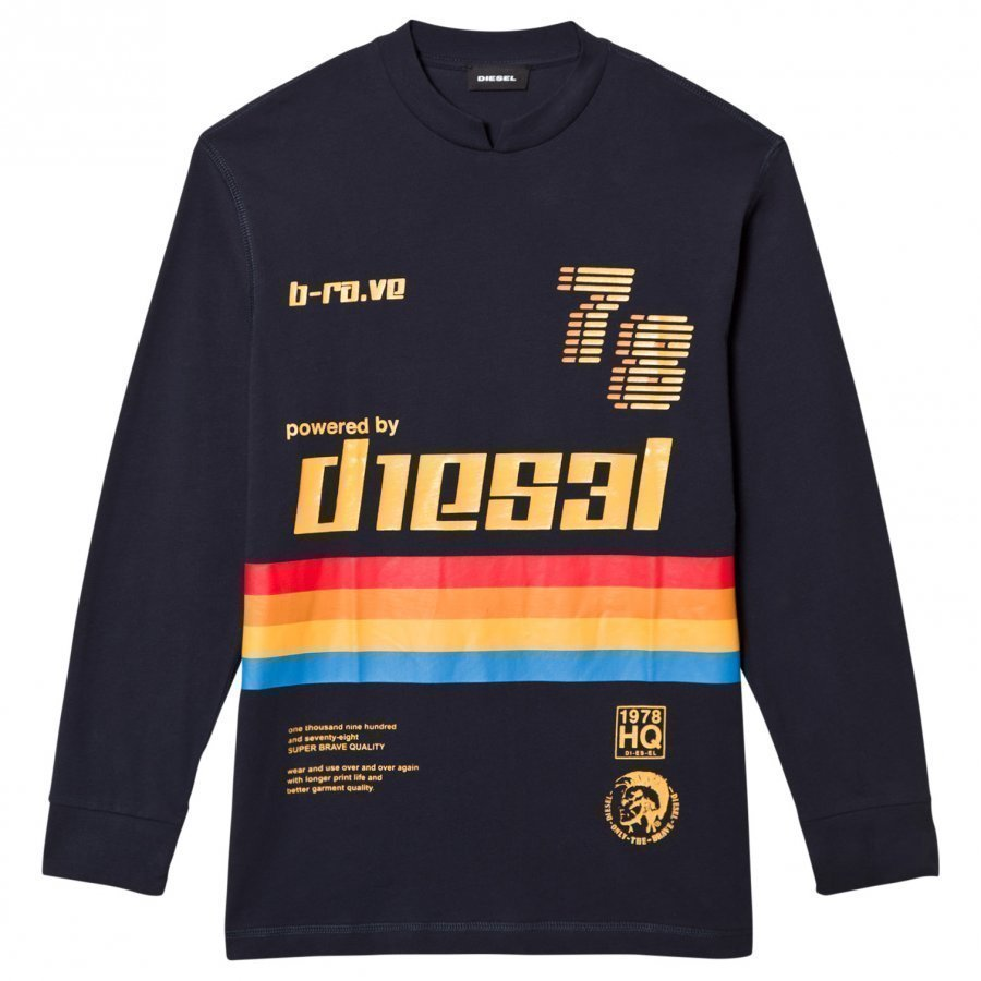Diesel Long Sleeve Rainbow Stripe Tee Navy Oloasun Paita