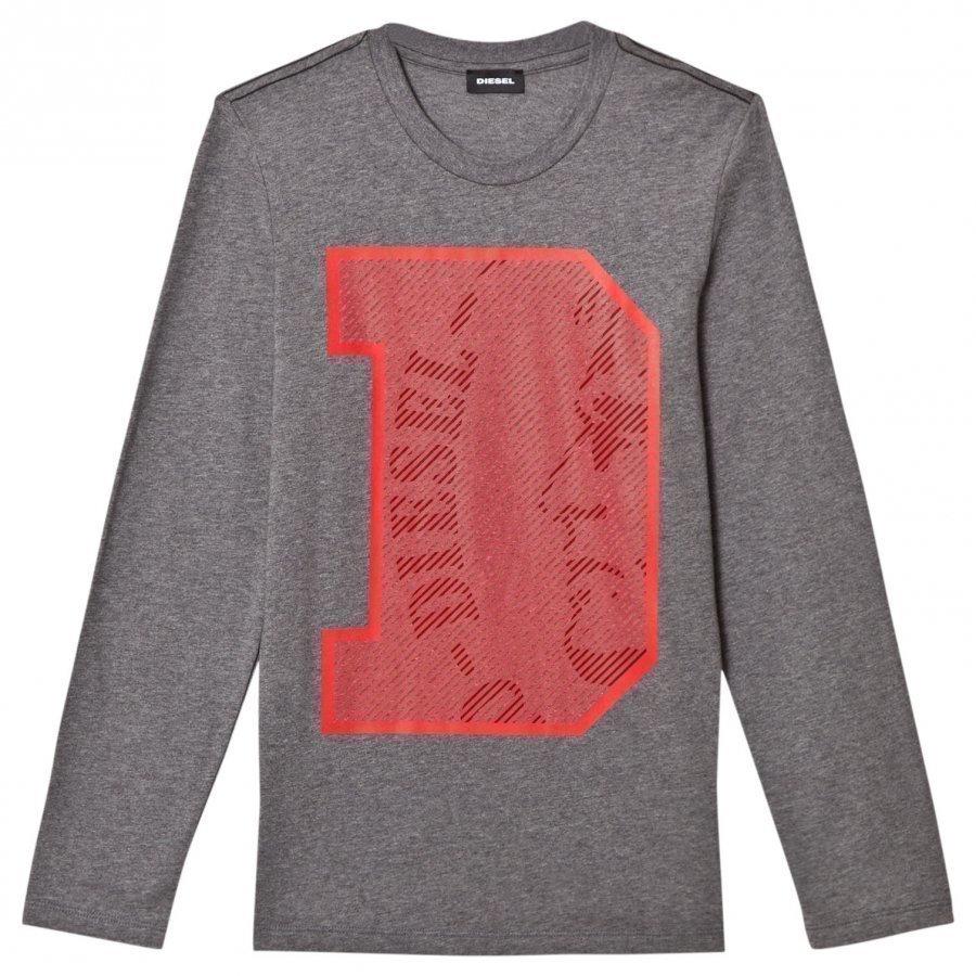 Diesel Slim Knit D Logo Tee Grey T-Paita