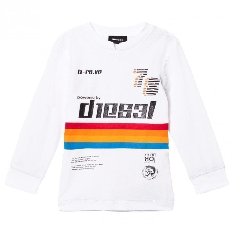 Diesel White Rainbow Stripe Long Sleeve Tee Oloasun Paita