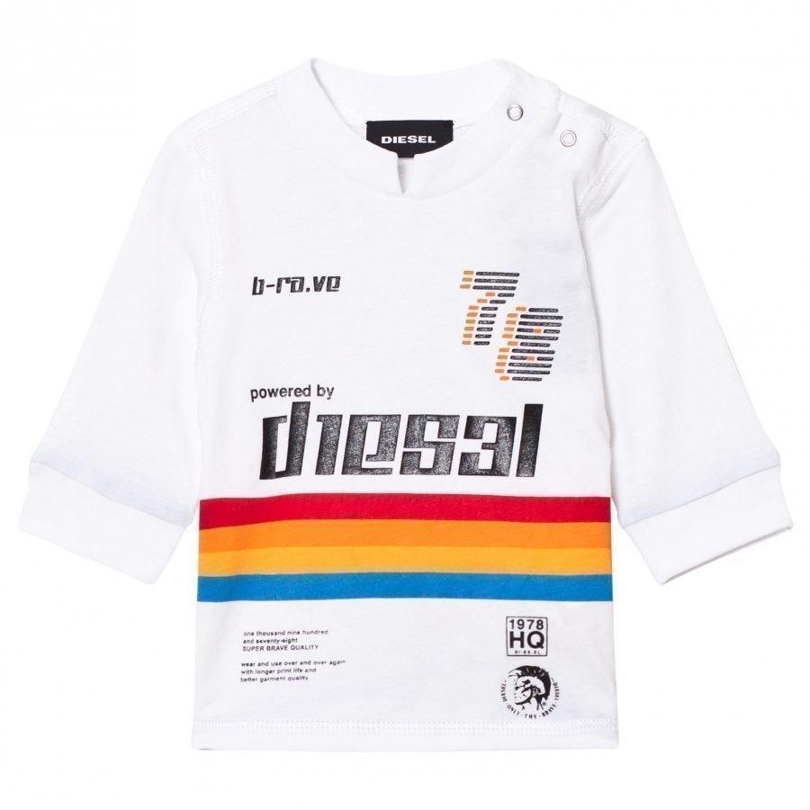 Diesel White Rainbow Stripe Long Sleeve Tee Pitkähihainen T-Paita