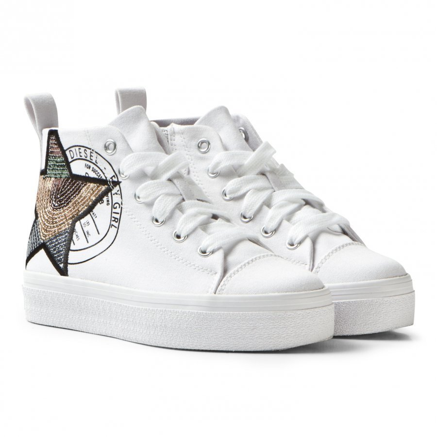 Diesel White Wedged Star Hi Top Trainers Lenkkarit