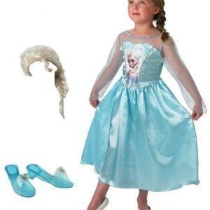 Disney Frozen Naamiaisasu + Peruukki + Naamiaiskengät Paketti