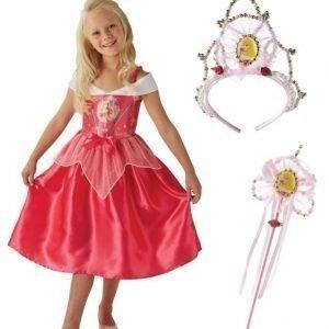 Disney Princess Prinsessa Ruusunen Naamiaisasu + Kruunu + Taikasauva Paketti