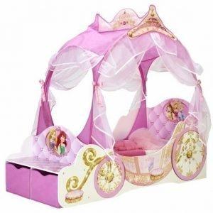 Disney Princess Vuode katolla & säilytyslaatikoilla vaaleanpunainen