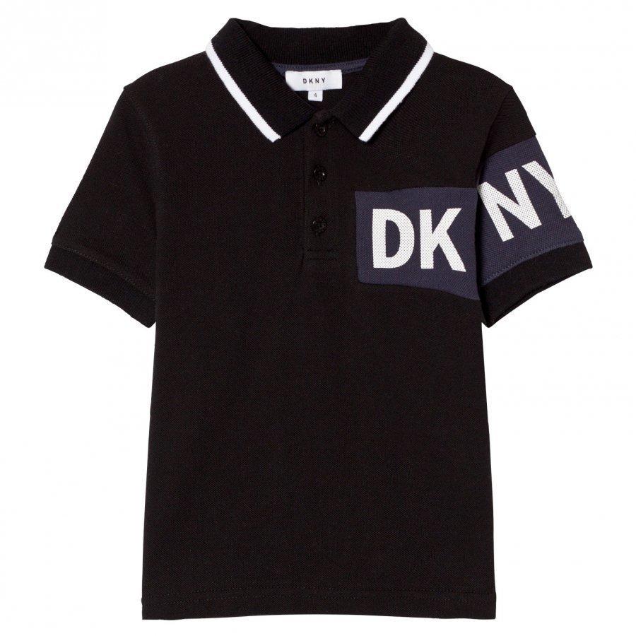 Dkny Black And Blue Branded Pique Polo Pikeepaita