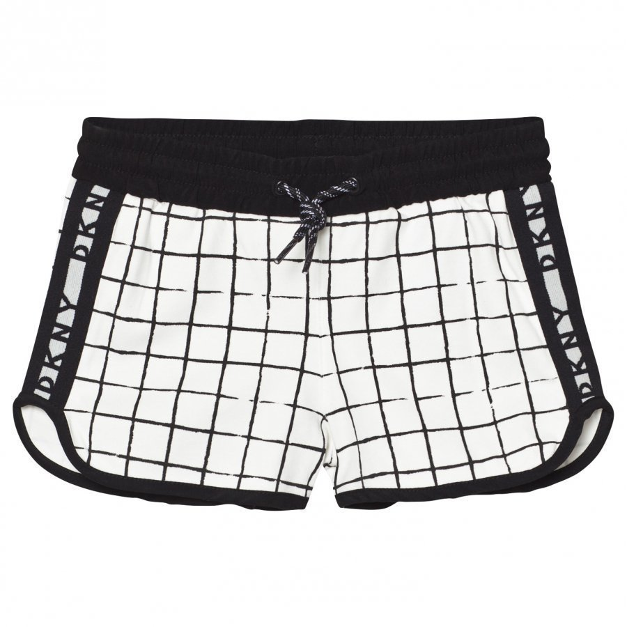 Dkny Black And White Check Branded Sweat Shorts Oloasun Shortsit