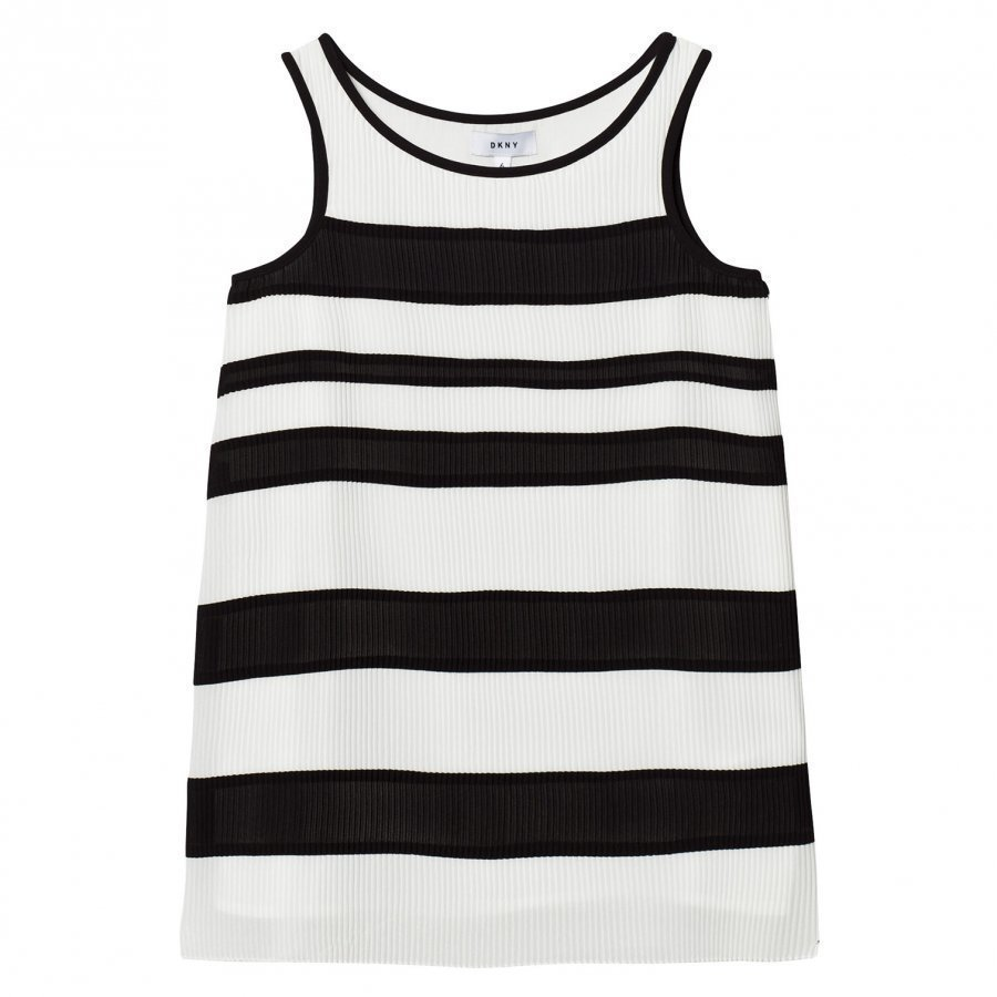 Dkny Black And White Striped Pleated Voile Dress Mekko