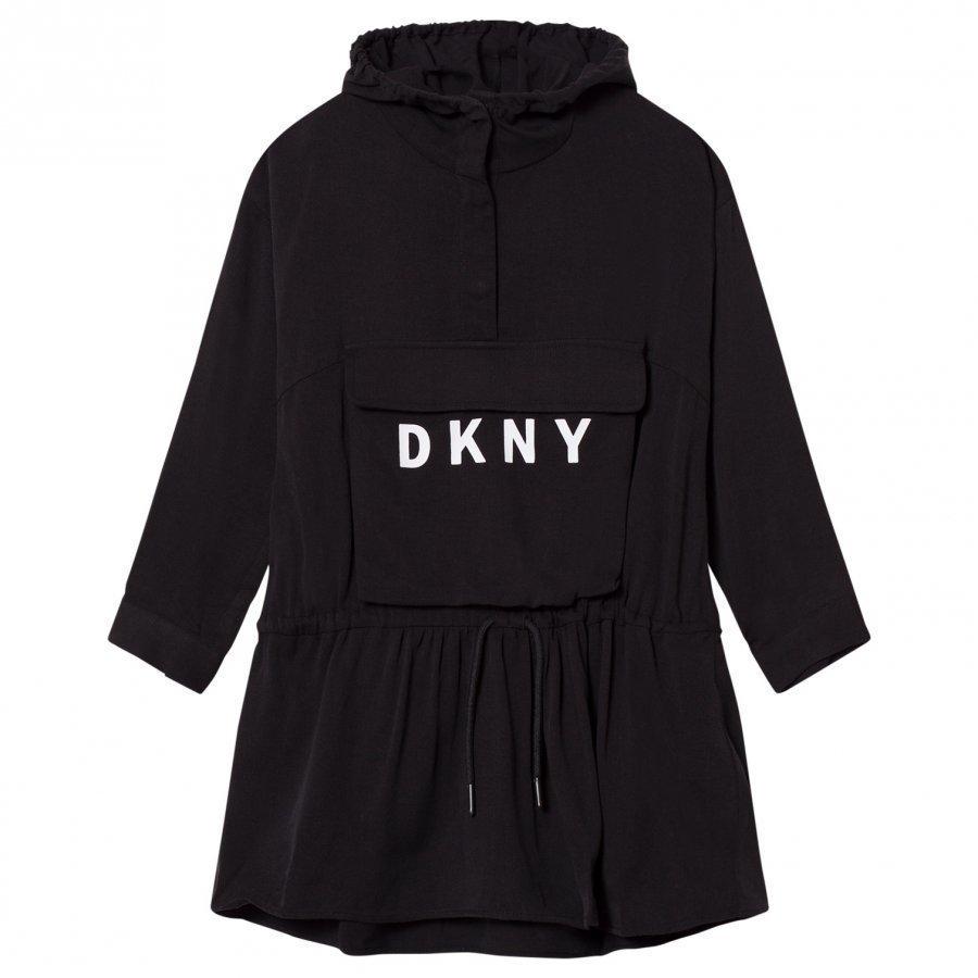 Dkny Black Branded Hooded Dress Mekko