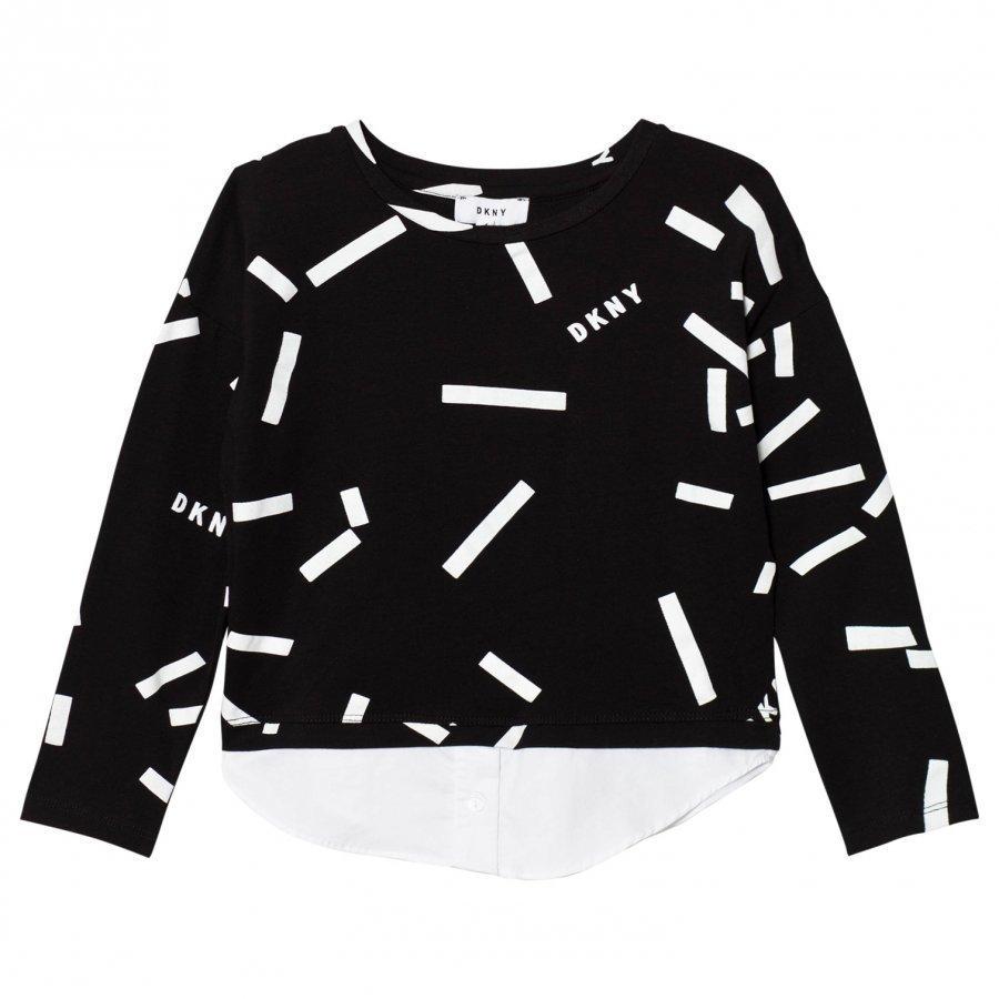 Dkny Black Confetti Print Mock Layer Tee T-Paita