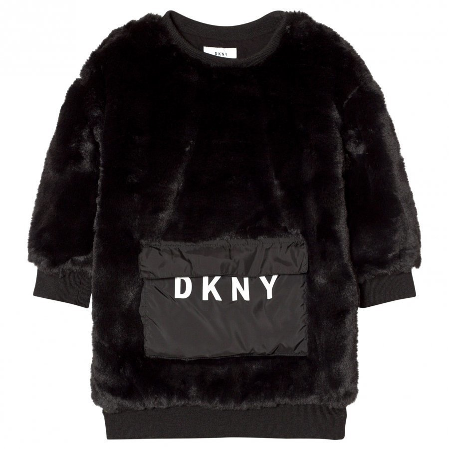 Dkny Black Faux Fur Dress With Branded Pocket Mekko