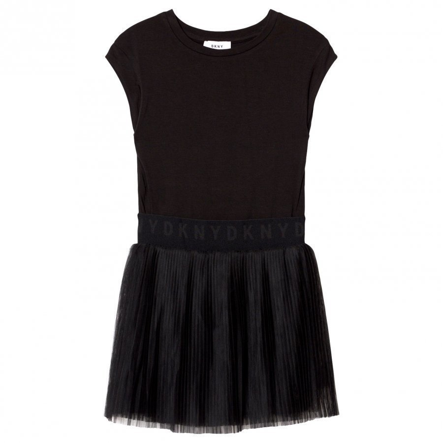 Dkny Black Sweat Dress Tulle Skirt Mekko