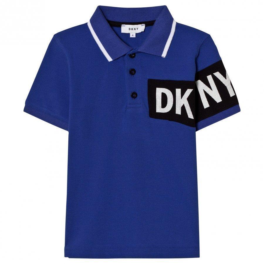 Dkny Blue And Black Branded Pique Polo Pikeepaita