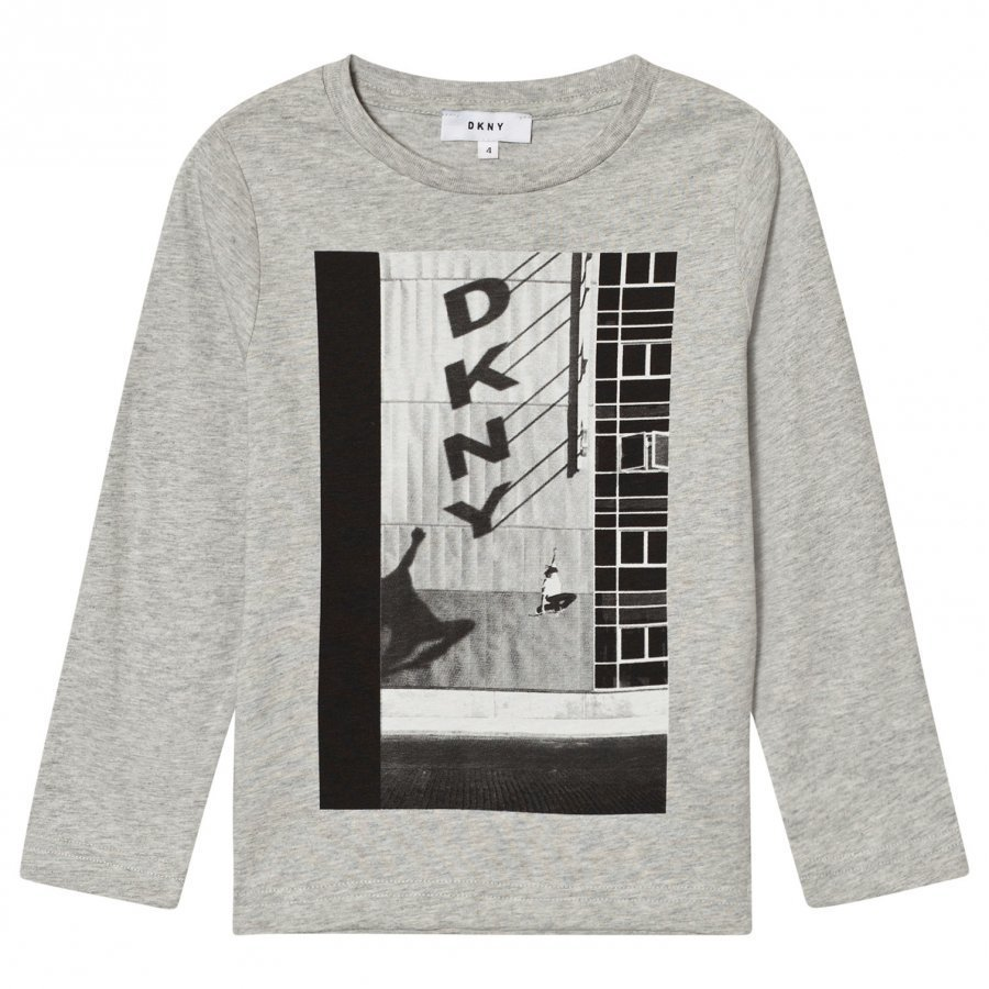 Dkny Grey Marl Shadow Branded Long Sleeve Tee T-Paita