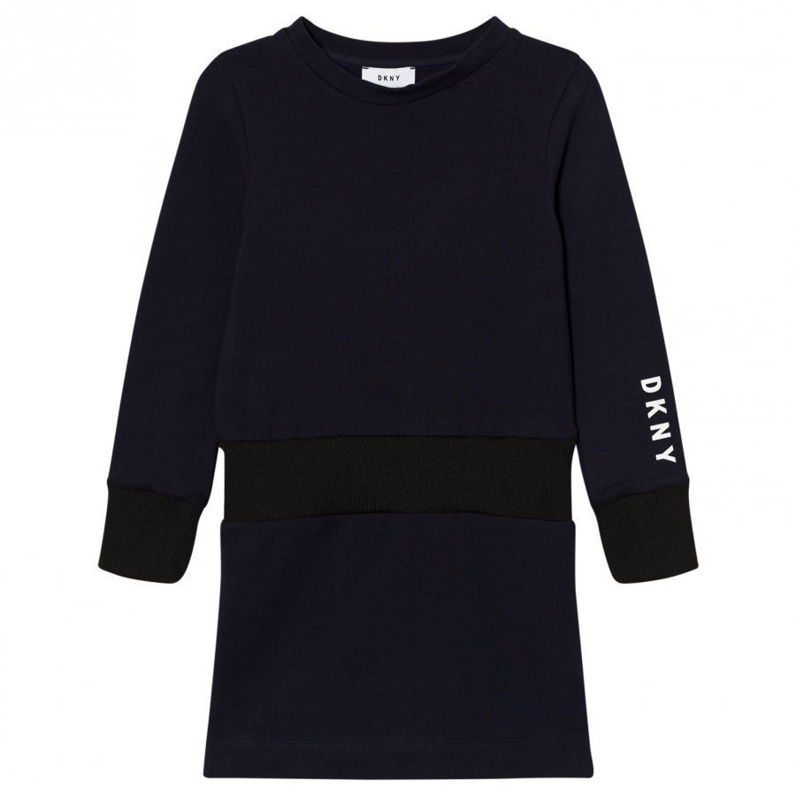 Dkny Navy Branded Sweat Dress Mekko