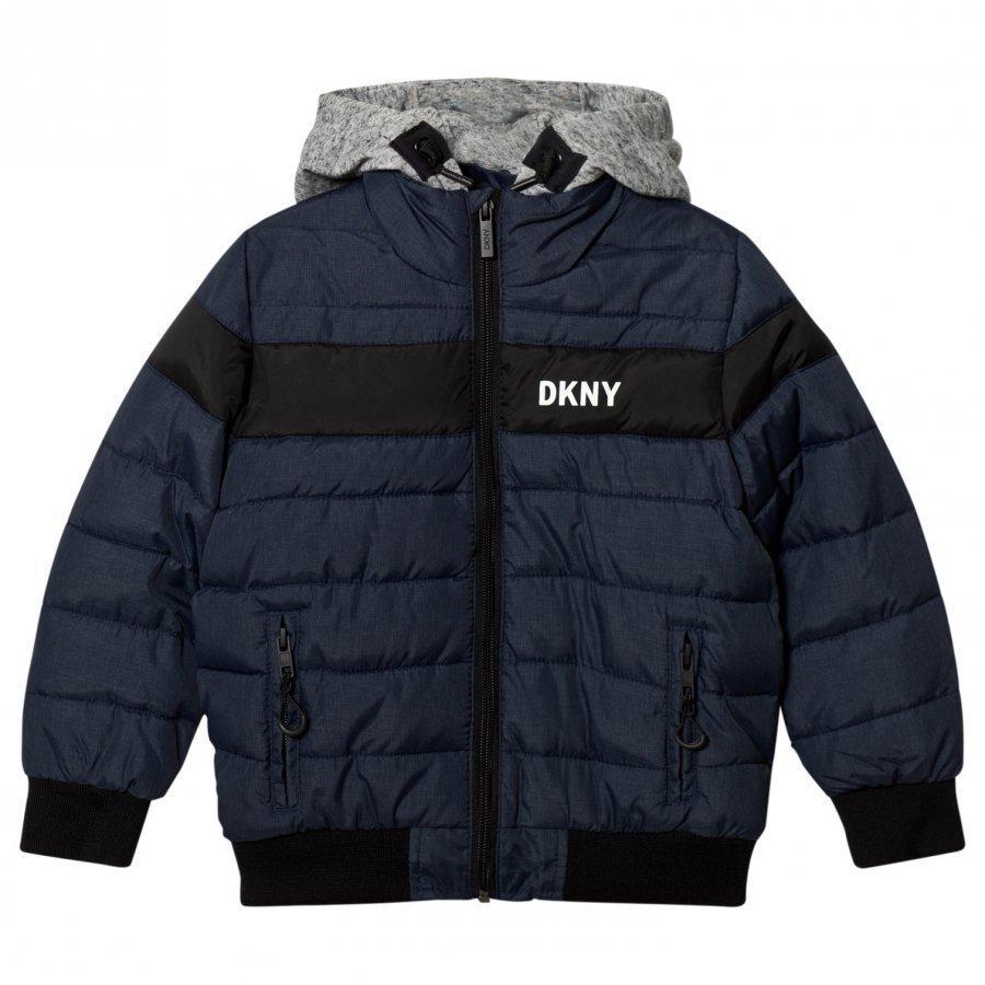 Dkny Navy Puffer Jacket Hood Toppatakki