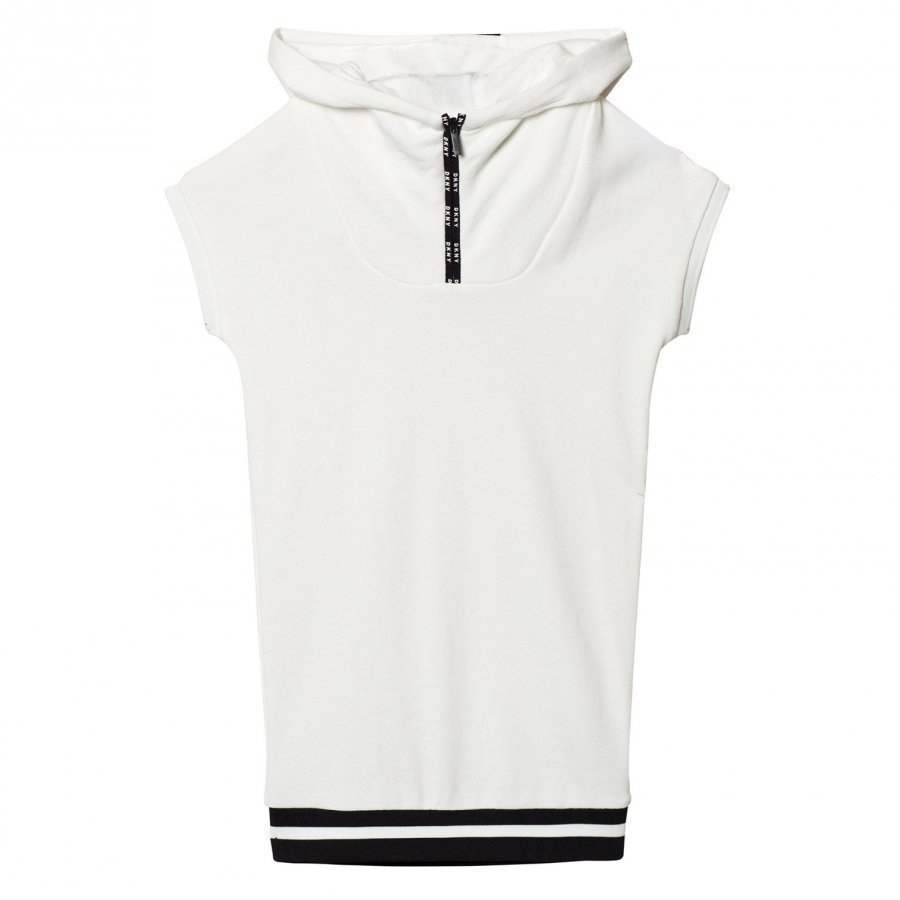 Dkny Off White Branded Hooded Jersey Dress Huppari