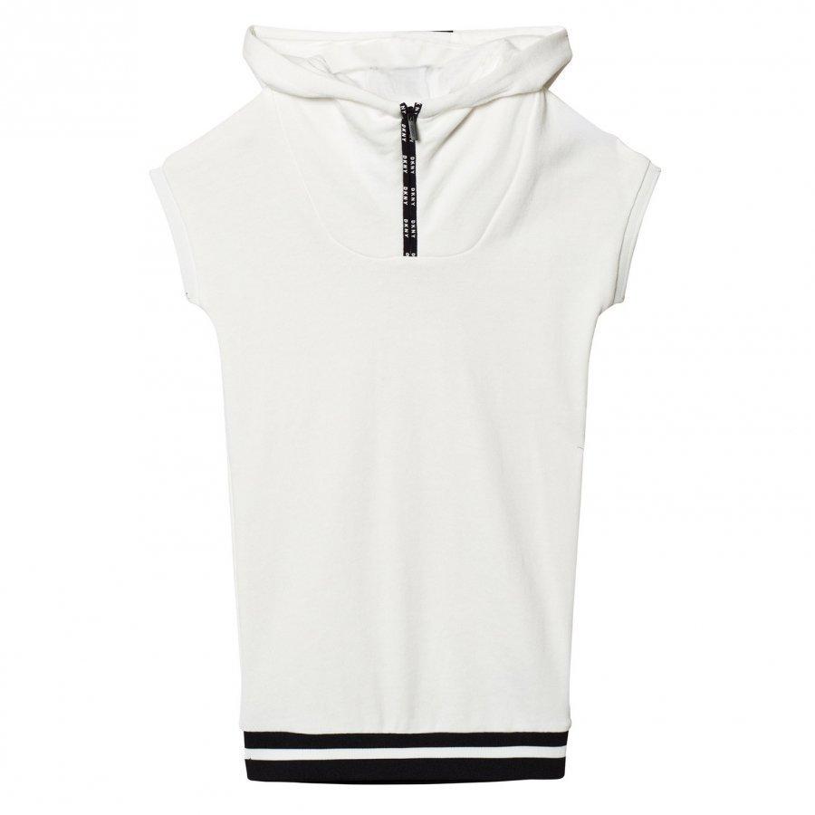 Dkny Off White Branded Hooded Jersey Dress Huppari