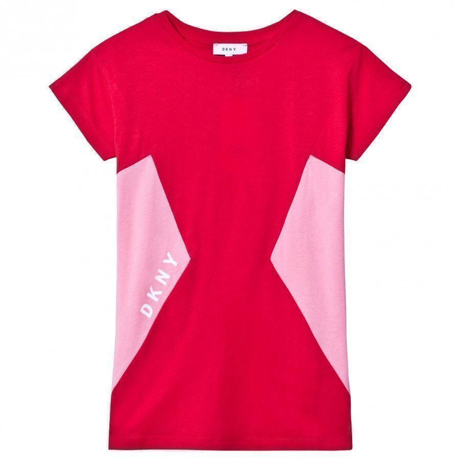 Dkny Red Pink Logo Print Jersey Dress Mekko